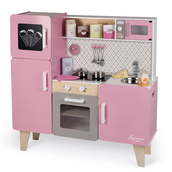 Janod cocina rosa macaron kukut joguines for Cocina de madera juguete