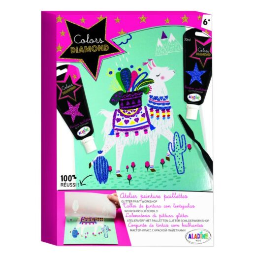 Kit-Creatif-aladine-Colors-Diamond-Atelier-peinture-paillettes lama